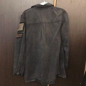 Free People Jackets & Coats - Free People Beaded Military Jacket (Dark Grey)
